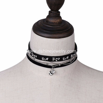 Leather Velvet Choker Necklace Punk Rivet Charm Necklace